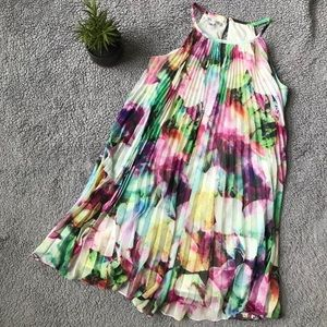 Maggy London Pleated Watercolor Sleeveless Dress